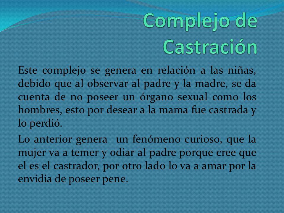Este complejo se genera en relación a las niñas, debido que al observar al padre y la madre, se da cuenta de no poseer un órgano sexual como los hombr