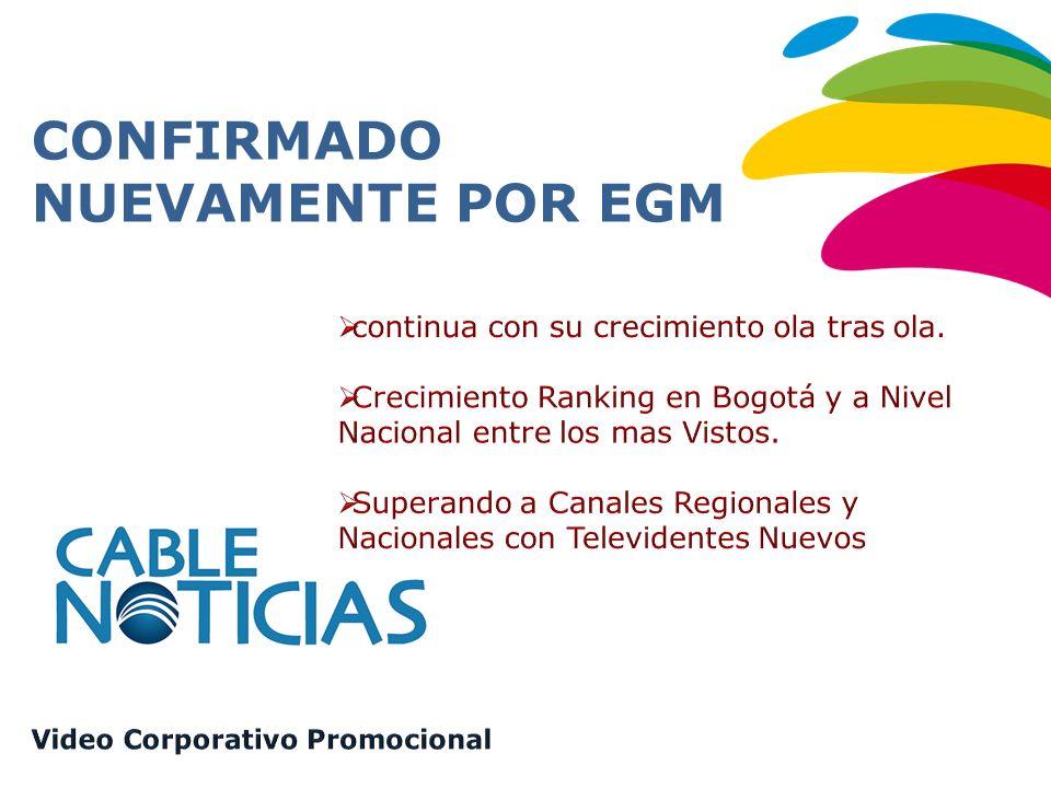 Fuente EGM 2012 ola 3 Población Nacional: 17235.500 CUBRIMIENTO NACIONAL En Colombia llega a más de 4,2 millones de usuarios, cubriendo el 98% de los hogares con Tv Paga, a través de todos los cable- operadores: Claro, DirecTv, Supercable, UNE, Telefónica, y más de 300 canales comunitarios en los diferentes municipios del País.