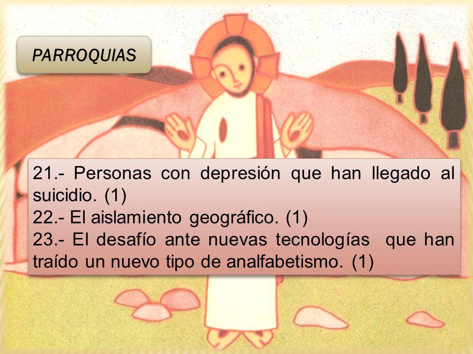 PARROQUIAS 21.- Personas con depresión que han llegado al suicidio. (1) 22.- El aislamiento geográfico. (1) 23.- El desafío ante nuevas tecnologías qu