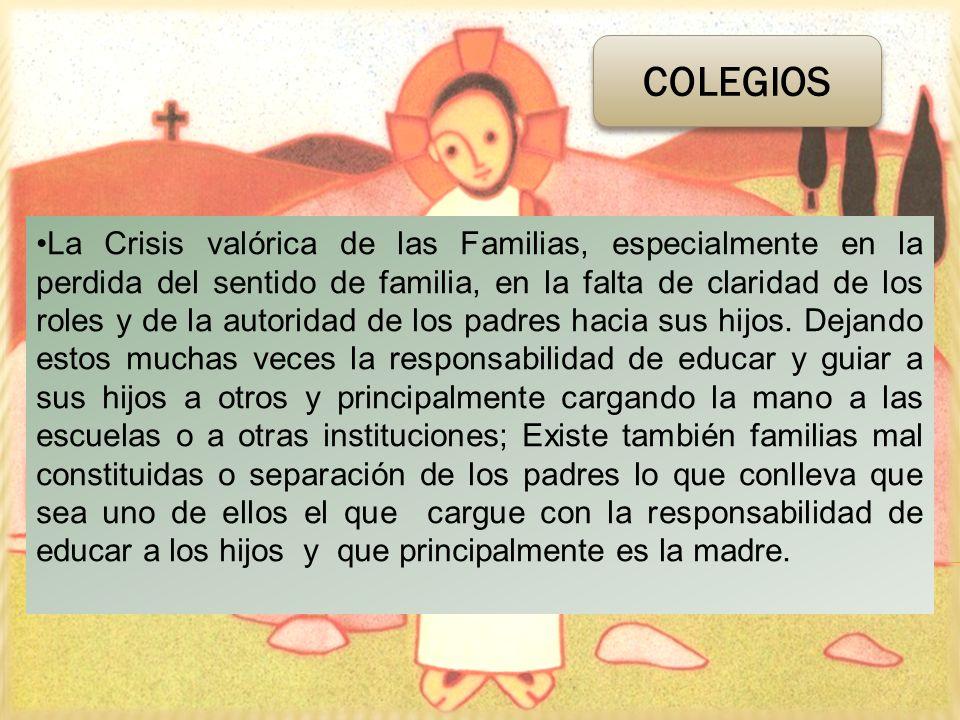 La Crisis valórica de las Familias, especialmente en la perdida del sentido de familia, en la falta de claridad de los roles y de la autoridad de los