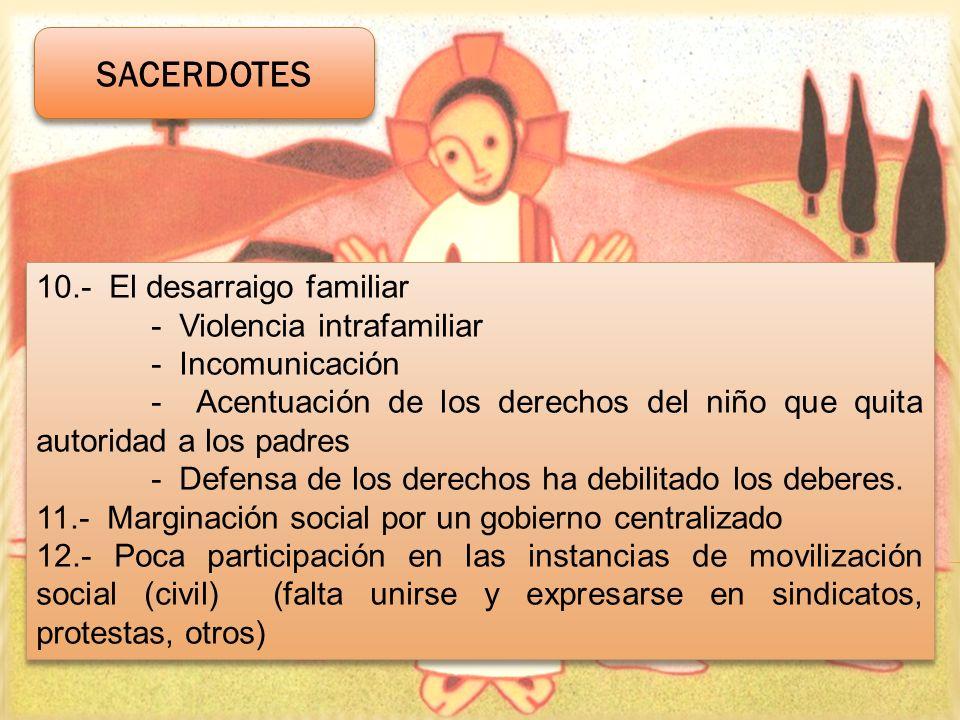 10.- El desarraigo familiar - Violencia intrafamiliar - Incomunicación - Acentuación de los derechos del niño que quita autoridad a los padres - Defen