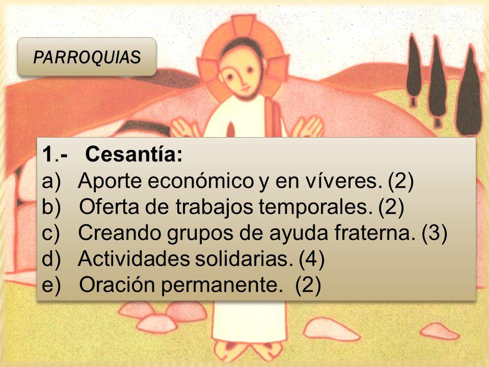 1.- Cesantía: a) Aporte económico y en víveres. (2) b) Oferta de trabajos temporales. (2) c) Creando grupos de ayuda fraterna. (3) d) Actividades soli