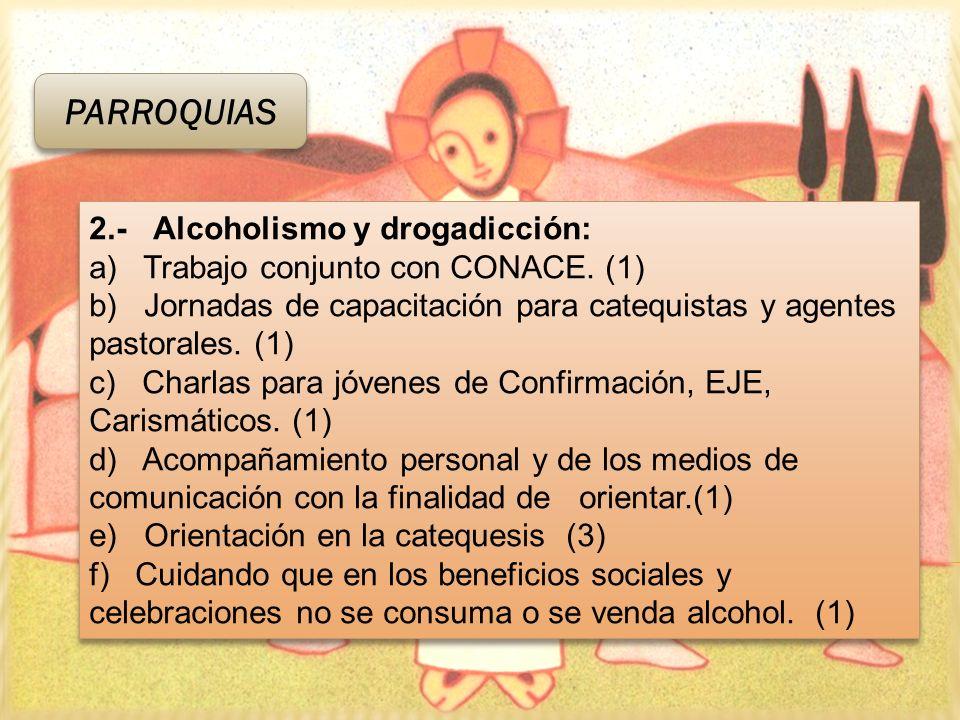 2.- Alcoholismo y drogadicción: a) Trabajo conjunto con CONACE. (1) b) Jornadas de capacitación para catequistas y agentes pastorales. (1) c) Charlas