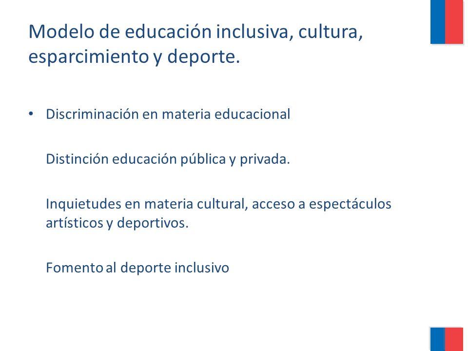Modelo de educación inclusiva, cultura, esparcimiento y deporte. Discriminación en materia educacional Distinción educación pública y privada. Inquiet