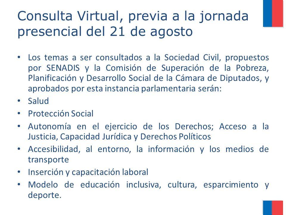 Consulta Virtual, previa a la jornada presencial del 21 de agosto Los temas a ser consultados a la Sociedad Civil, propuestos por SENADIS y la Comisió