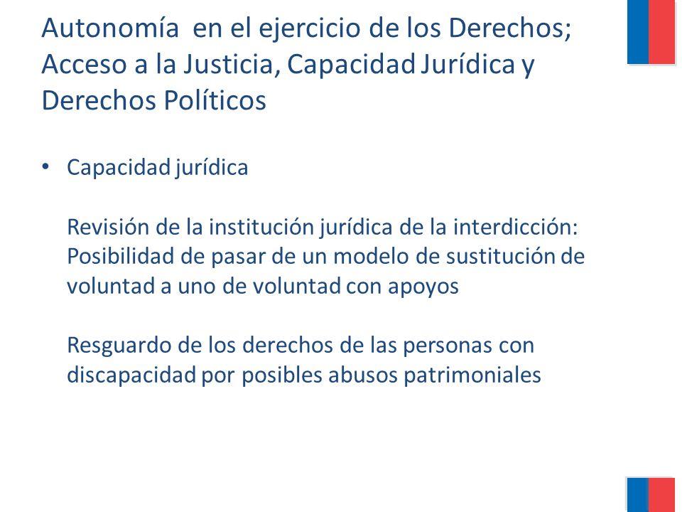 Autonomía en el ejercicio de los Derechos; Acceso a la Justicia, Capacidad Jurídica y Derechos Políticos Capacidad jurídica Revisión de la institución