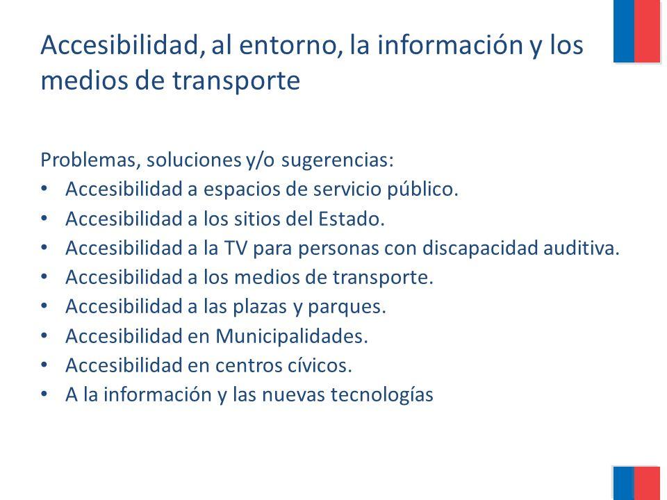 Accesibilidad, al entorno, la información y los medios de transporte Problemas, soluciones y/o sugerencias: Accesibilidad a espacios de servicio públi