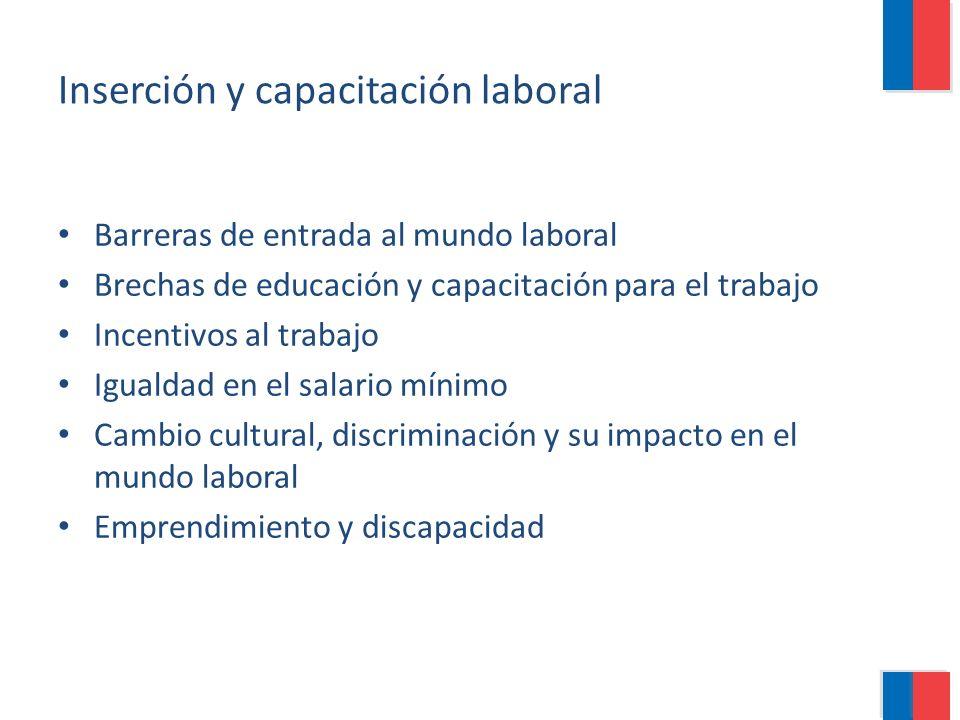 Inserción y capacitación laboral Barreras de entrada al mundo laboral Brechas de educación y capacitación para el trabajo Incentivos al trabajo Iguald