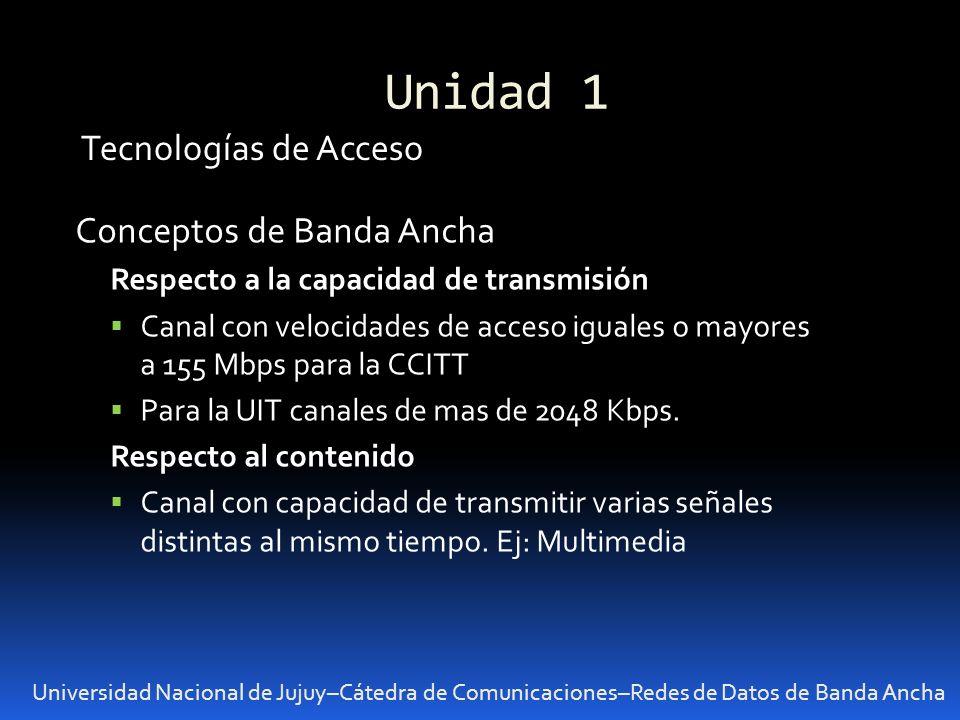 Unidad 1 Universidad Nacional de Jujuy–Cátedra de Comunicaciones–Redes de Datos de Banda Ancha Tecnologías de Acceso Conceptos de Banda Ancha Respecto
