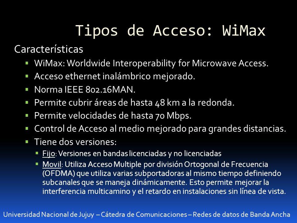 Tipos de Acceso: WiMax Universidad Nacional de Jujuy – Cátedra de Comunicaciones – Redes de datos de Banda Ancha Características WiMax: Worldwide Inte