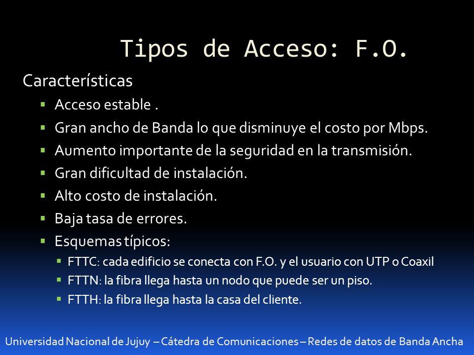Tipos de Acceso: F.O. Universidad Nacional de Jujuy – Cátedra de Comunicaciones – Redes de datos de Banda Ancha Características Acceso estable. Gran a