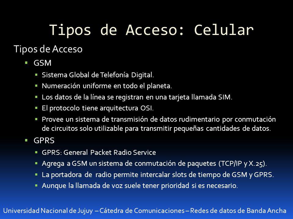 Tipos de Acceso: Celular Universidad Nacional de Jujuy – Cátedra de Comunicaciones – Redes de datos de Banda Ancha Tipos de Acceso GSM Sistema Global