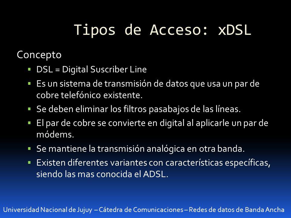 Tipos de Acceso: xDSL Universidad Nacional de Jujuy – Cátedra de Comunicaciones – Redes de datos de Banda Ancha Concepto DSL = Digital Suscriber Line