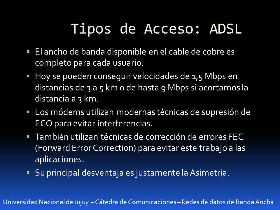 Tipos de Acceso: ADSL Universidad Nacional de Jujuy – Cátedra de Comunicaciones – Redes de datos de Banda Ancha El ancho de banda disponible en el cab