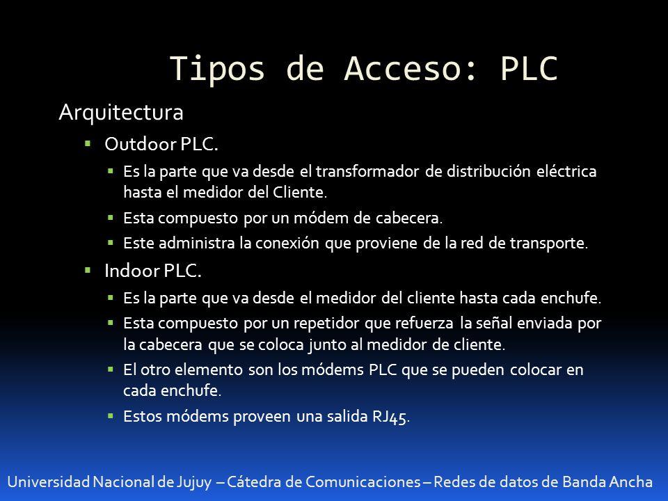 Tipos de Acceso: PLC Universidad Nacional de Jujuy – Cátedra de Comunicaciones – Redes de datos de Banda Ancha Arquitectura Outdoor PLC. Es la parte q