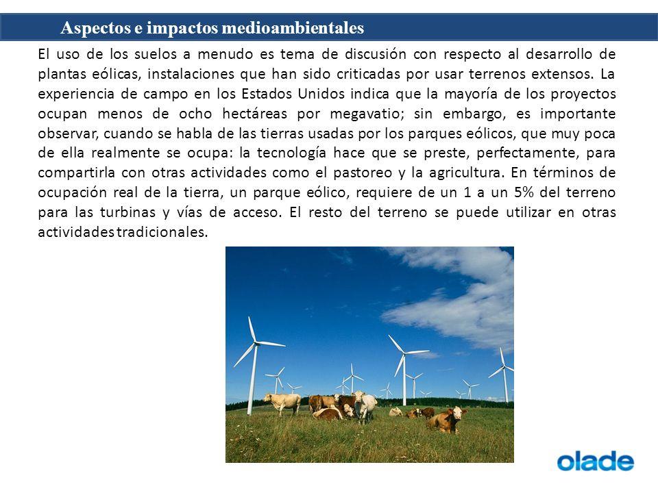 Aspectos e impactos medioambientales El uso de los suelos a menudo es tema de discusión con respecto al desarrollo de plantas eólicas, instalaciones q