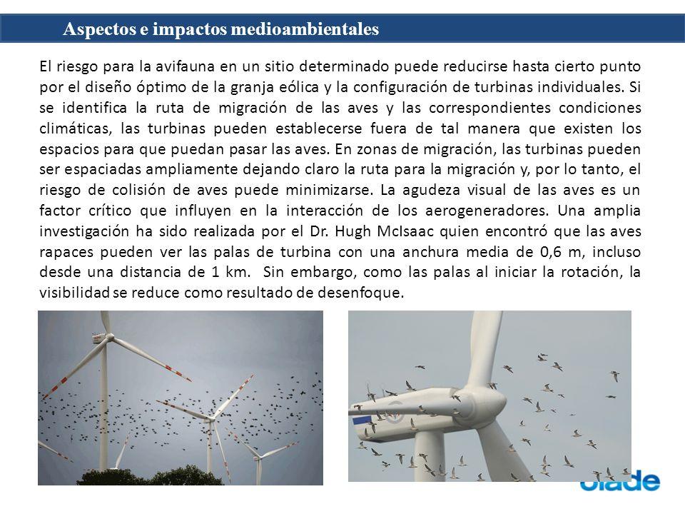 Aspectos e impactos medioambientales Hay cuatro tipos de ruido que puede ser generados por la operación de la turbina de viento: tonal, banda ancha, de baja frecuencia y impulsivo.