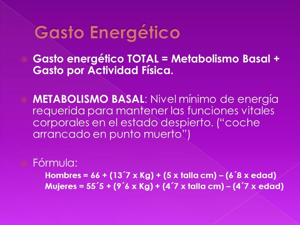 Gasto energético TOTAL = Metabolismo Basal + Gasto por Actividad Física. METABOLISMO BASAL : Nivel mínimo de energía requerida para mantener las funci