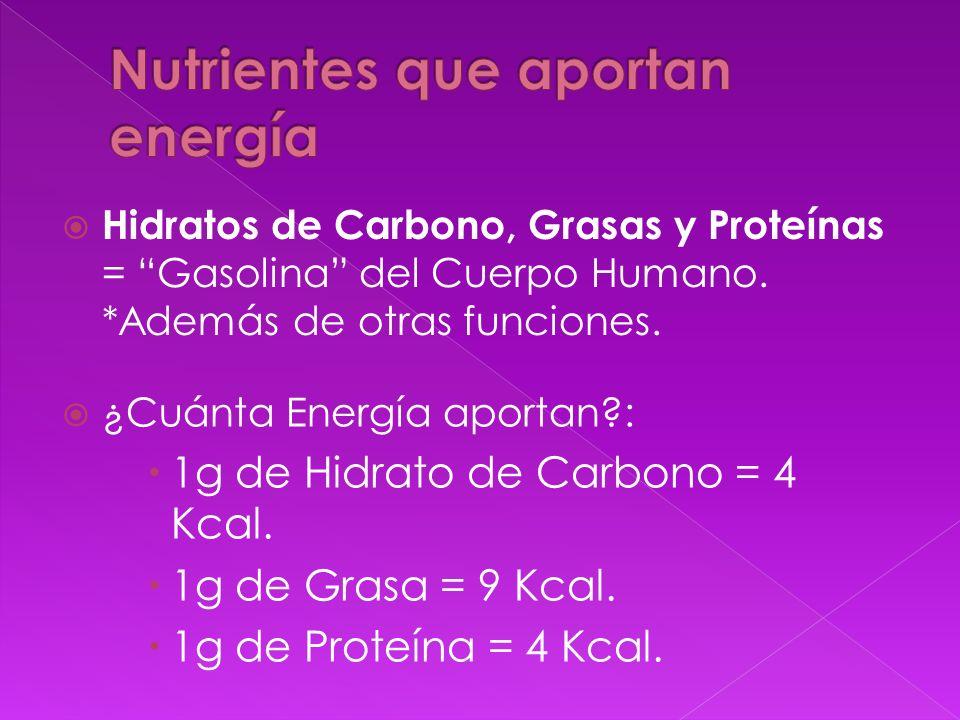 Hidratos de Carbono, Grasas y Proteínas = Gasolina del Cuerpo Humano. *Además de otras funciones. ¿Cuánta Energía aportan?: 1g de Hidrato de Carbono =