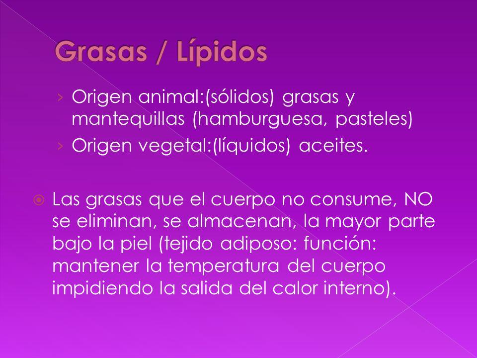 Origen animal:(sólidos) grasas y mantequillas (hamburguesa, pasteles) Origen vegetal:(líquidos) aceites. Las grasas que el cuerpo no consume, NO se el