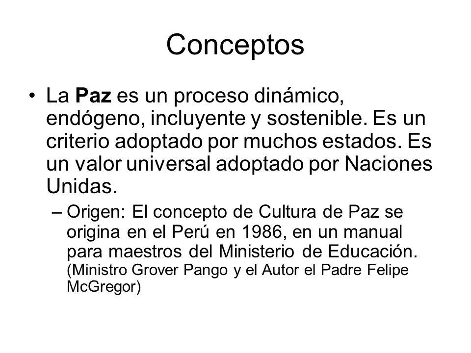 Conceptos La Paz es un proceso dinámico, endógeno, incluyente y sostenible. Es un criterio adoptado por muchos estados. Es un valor universal adoptado