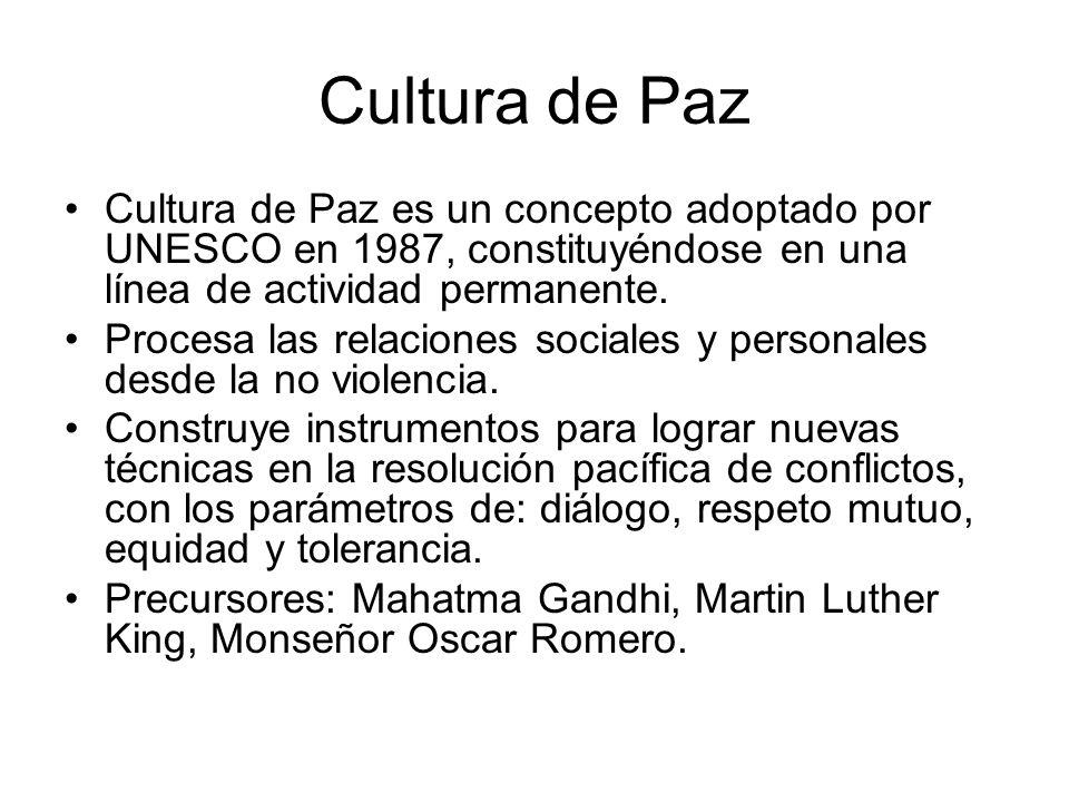 Cultura de Paz Cultura de Paz es un concepto adoptado por UNESCO en 1987, constituyéndose en una línea de actividad permanente. Procesa las relaciones