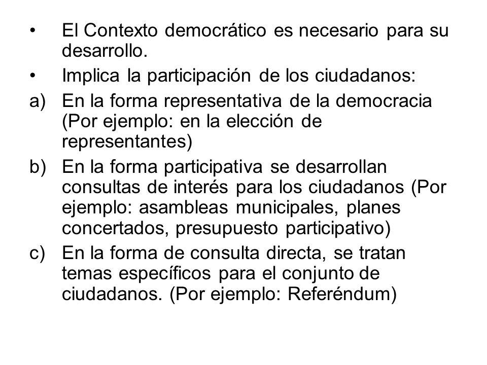 El Contexto democrático es necesario para su desarrollo. Implica la participación de los ciudadanos: a)En la forma representativa de la democracia (Po
