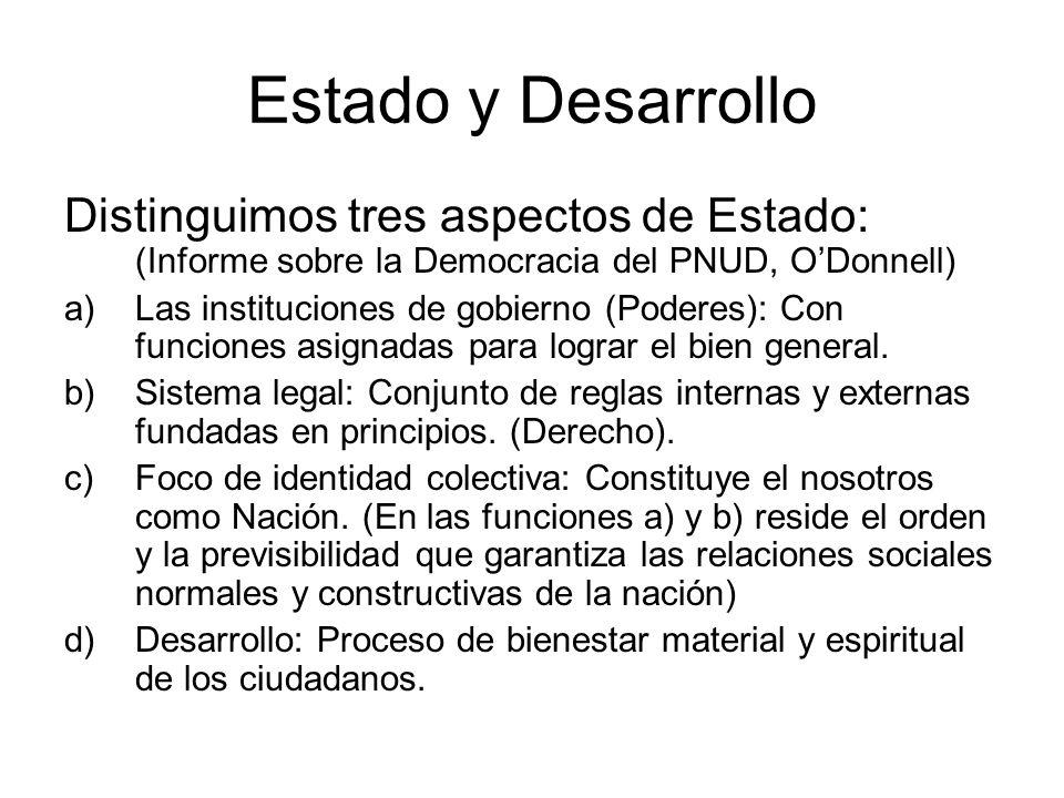Estado y Desarrollo Distinguimos tres aspectos de Estado: (Informe sobre la Democracia del PNUD, ODonnell) a)Las instituciones de gobierno (Poderes):