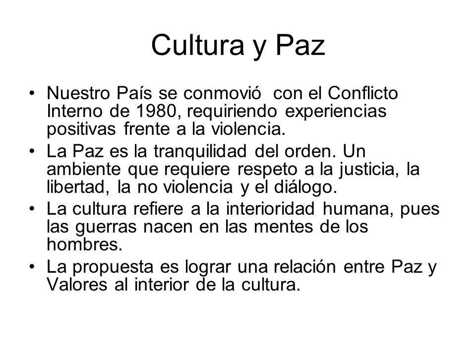 Cultura y Paz Nuestro País se conmovió con el Conflicto Interno de 1980, requiriendo experiencias positivas frente a la violencia. La Paz es la tranqu