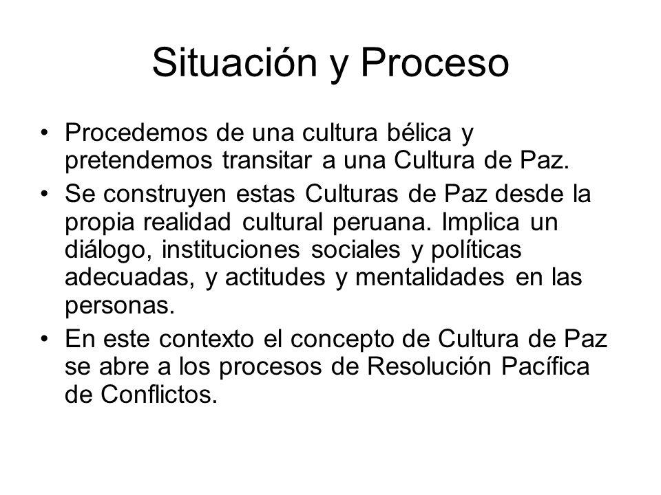 Situación y Proceso Procedemos de una cultura bélica y pretendemos transitar a una Cultura de Paz. Se construyen estas Culturas de Paz desde la propia