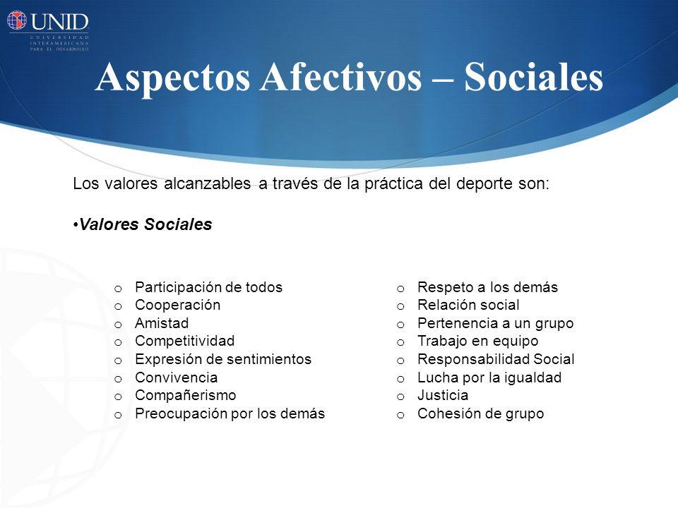 Aspectos Afectivos – Sociales o Participación de todos o Respeto a los demás o Cooperación o Relación social o Amistad o Pertenencia a un grupo o Comp
