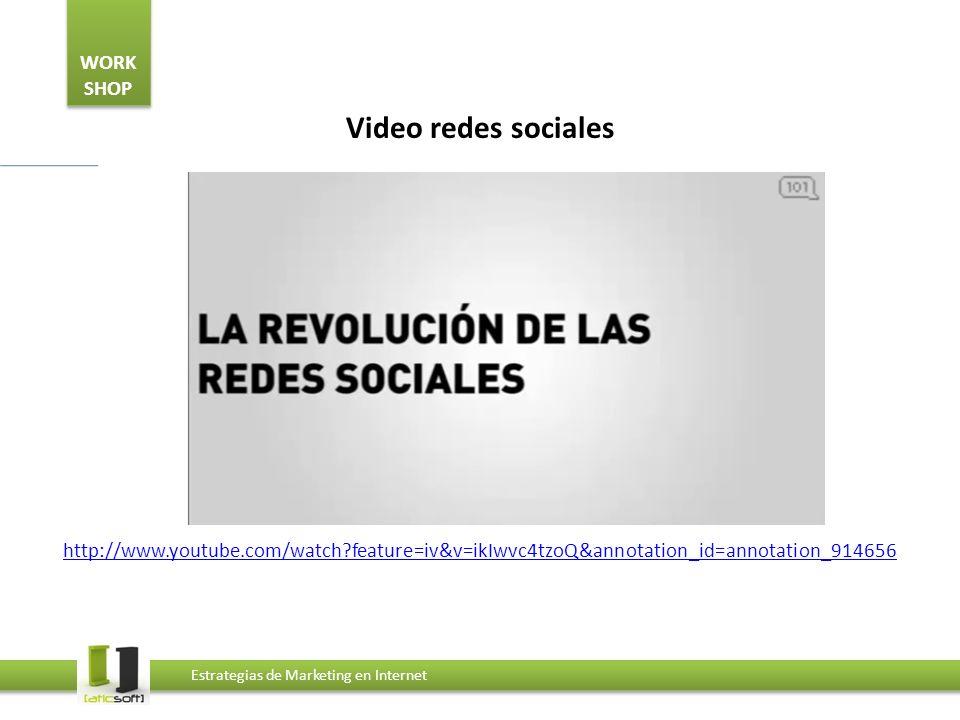 WORK SHOP Estrategias de Marketing en Internet Video redes sociales http://www.youtube.com/watch?feature=iv&v=ikIwvc4tzoQ&annotation_id=annotation_914