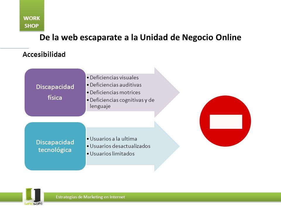 WORK SHOP Estrategias de Marketing en Internet De la web escaparate a la Unidad de Negocio Online Accesibilidad Deficiencias visuales Deficiencias aud