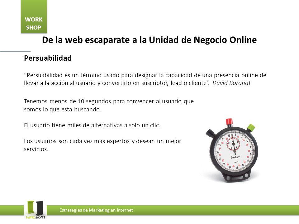 WORK SHOP Estrategias de Marketing en Internet De la web escaparate a la Unidad de Negocio Online Persuabilidad Persuabilidad es un término usado para