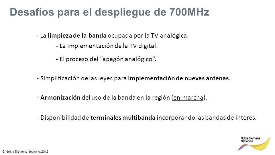 © Nokia Siemens Networks 2012 Desafíos para el despliegue de 700MHz - La limpieza de la banda ocupada por la TV analógica.