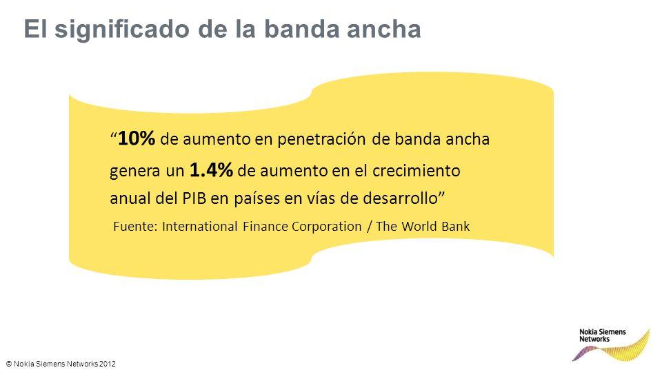 © Nokia Siemens Networks 2012 El significado de la banda ancha 10% de aumento en penetración de banda ancha genera un 1.4% de aumento en el crecimiento anual del PIB en países en vías de desarrollo Fuente: International Finance Corporation / The World Bank