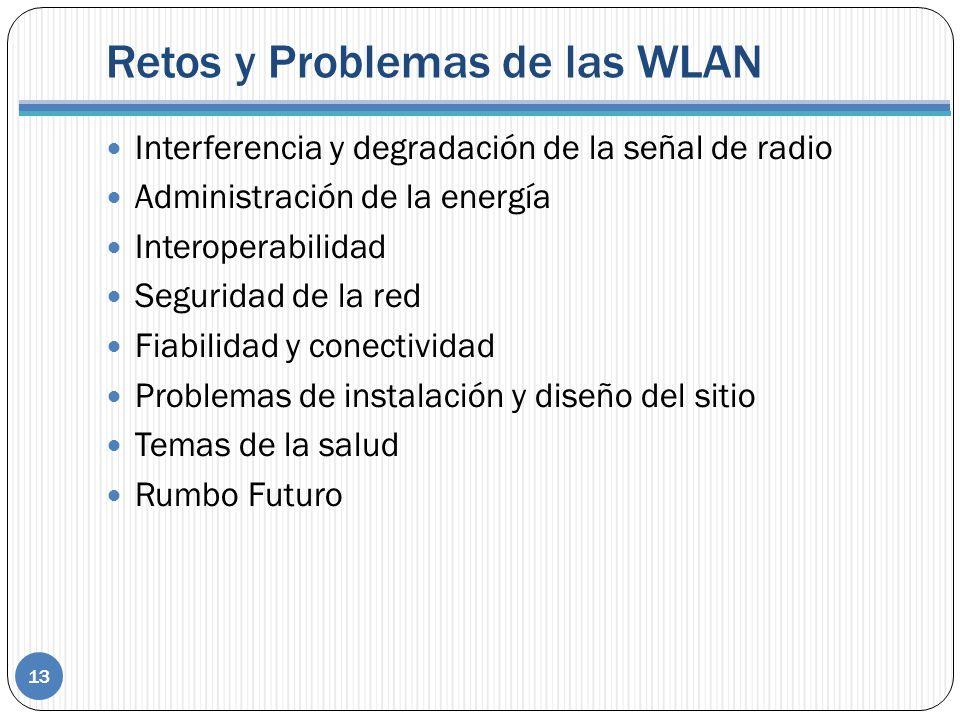 Retos y Problemas de las WLAN 13 Interferencia y degradación de la señal de radio Administración de la energía Interoperabilidad Seguridad de la red Fiabilidad y conectividad Problemas de instalación y diseño del sitio Temas de la salud Rumbo Futuro