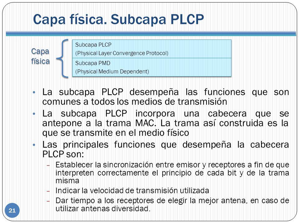 Capafísica Capa física. Subcapa PLCP 21 La subcapa PLCP desempeña las funciones que son comunes a todos los medios de transmisión La subcapa PLCP inco