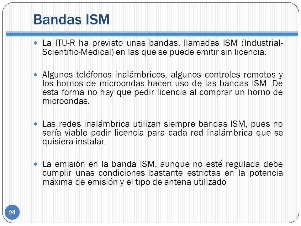 Bandas ISM 24 La ITU-R ha previsto unas bandas, llamadas ISM (Industrial- Scientific-Medical) en las que se puede emitir sin licencia. Algunos teléfon