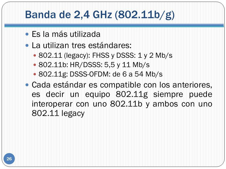 Banda de 2,4 GHz (802.11b/g) 26 Es la más utilizada La utilizan tres estándares: 802.11 (legacy): FHSS y DSSS: 1 y 2 Mb/s 802.11b: HR/DSSS: 5,5 y 11 Mb/s 802.11g: DSSS-OFDM: de 6 a 54 Mb/s Cada estándar es compatible con los anteriores, es decir un equipo 802.11g siempre puede interoperar con uno 802.11b y ambos con uno 802.11 legacy