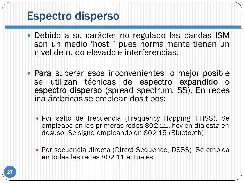 Espectro disperso 27 Debido a su carácter no regulado las bandas ISM son un medio hostil pues normalmente tienen un nivel de ruido elevado e interferencias.