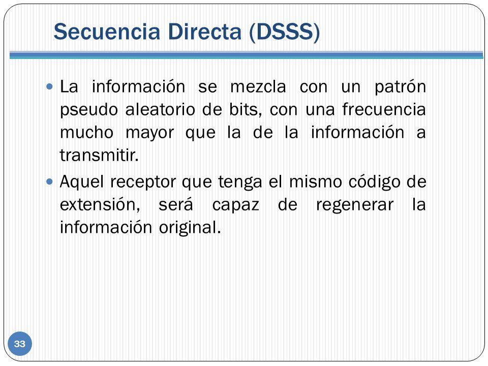 Secuencia Directa (DSSS) La información se mezcla con un patrón pseudo aleatorio de bits, con una frecuencia mucho mayor que la de la información a transmitir.