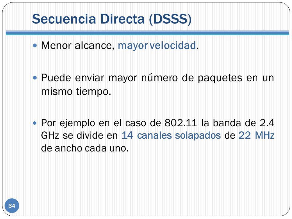 Secuencia Directa (DSSS) Menor alcance, mayor velocidad. Puede enviar mayor número de paquetes en un mismo tiempo. Por ejemplo en el caso de 802.11 la