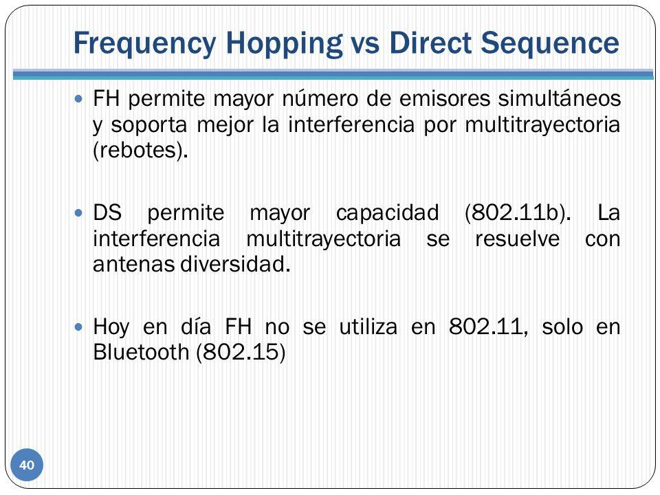 Frequency Hopping vs Direct Sequence 40 FH permite mayor número de emisores simultáneos y soporta mejor la interferencia por multitrayectoria (rebotes).