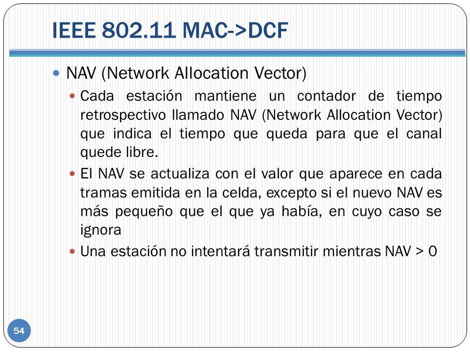 IEEE 802.11 MAC->DCF 54 NAV (Network Allocation Vector) Cada estación mantiene un contador de tiempo retrospectivo llamado NAV (Network Allocation Vector) que indica el tiempo que queda para que el canal quede libre.
