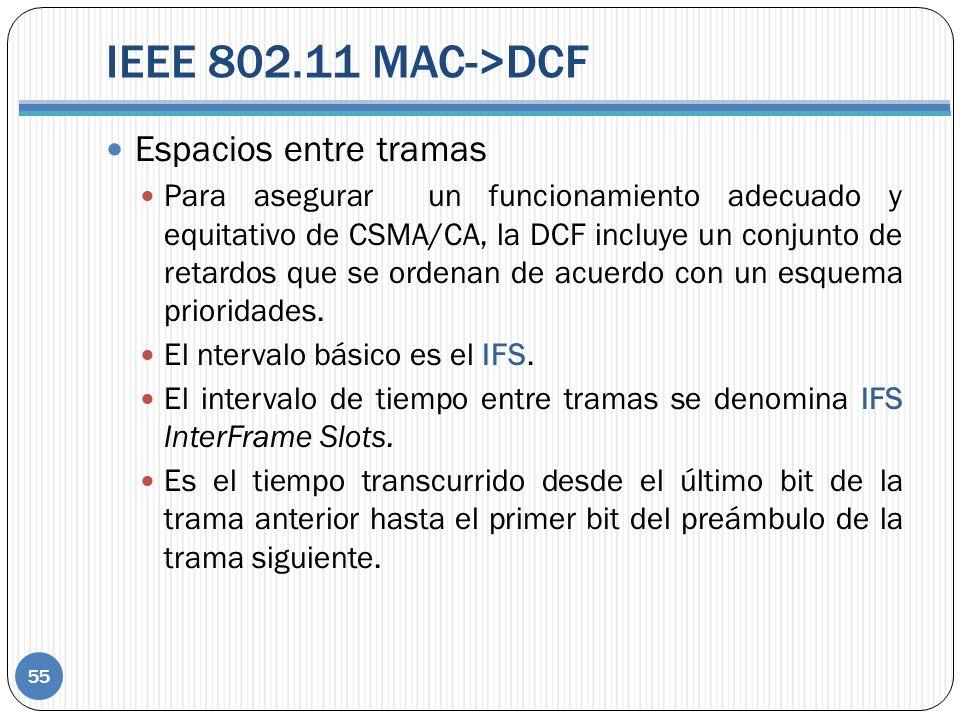 IEEE 802.11 MAC->DCF 55 Espacios entre tramas Para asegurar un funcionamiento adecuado y equitativo de CSMA/CA, la DCF incluye un conjunto de retardos que se ordenan de acuerdo con un esquema prioridades.