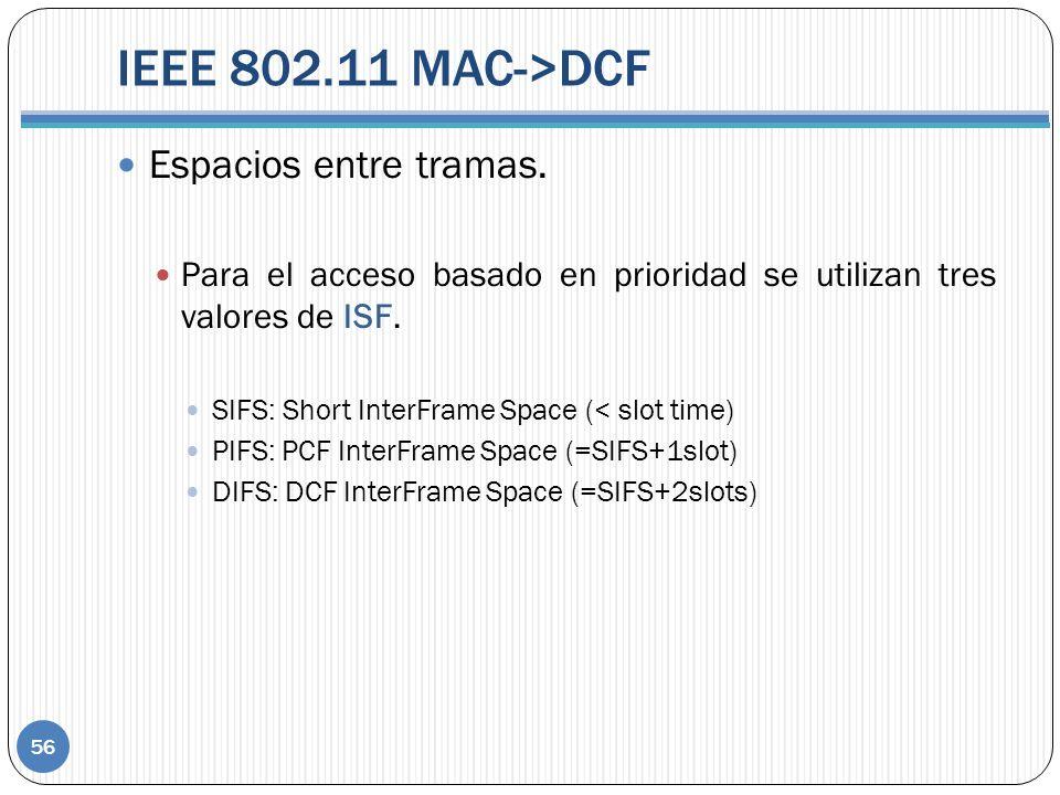 IEEE 802.11 MAC->DCF 56 Espacios entre tramas. Para el acceso basado en prioridad se utilizan tres valores de ISF. SIFS: Short InterFrame Space (< slo