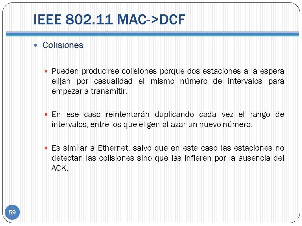 IEEE 802.11 MAC->DCF Colisiones Pueden producirse colisiones porque dos estaciones a la espera elijan por casualidad el mismo número de intervalos para empezar a transmitir.