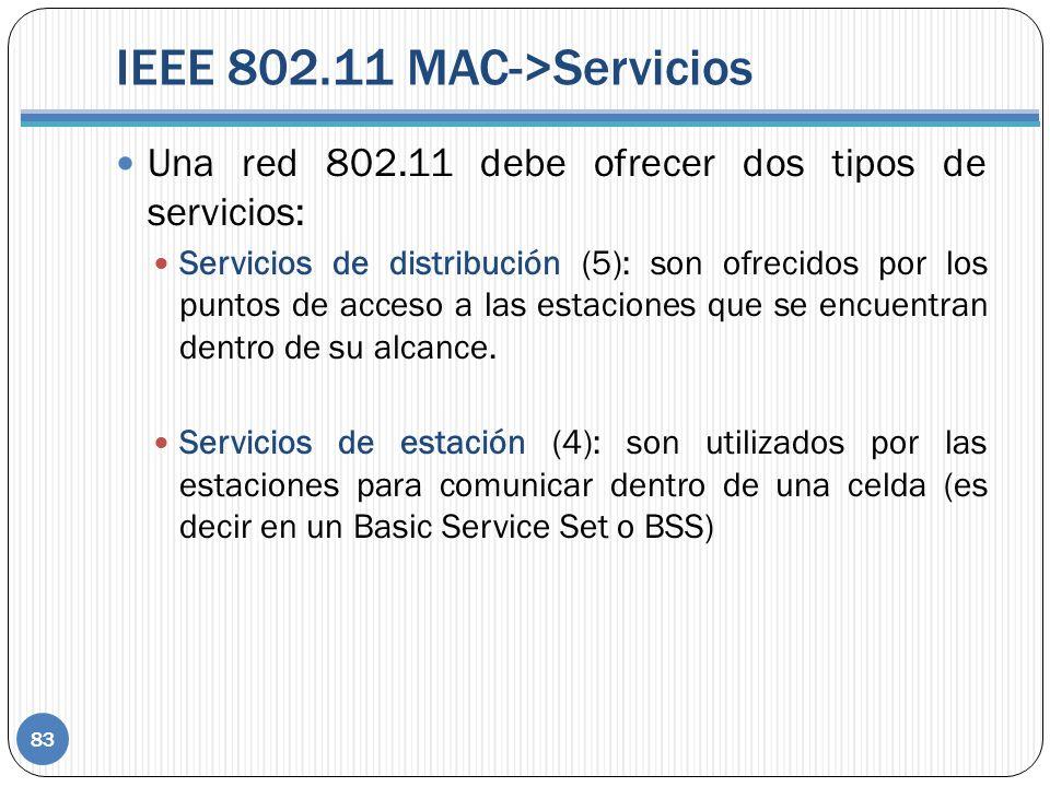 IEEE 802.11 MAC->Servicios Una red 802.11 debe ofrecer dos tipos de servicios: Servicios de distribución (5): son ofrecidos por los puntos de acceso a las estaciones que se encuentran dentro de su alcance.