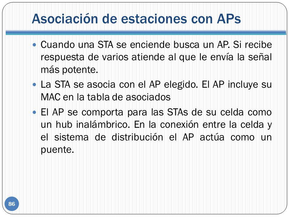 Asociación de estaciones con APs Cuando una STA se enciende busca un AP. Si recibe respuesta de varios atiende al que le envía la señal más potente. L